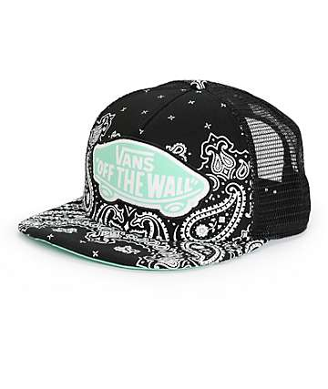 Vans Beach Girl Black Bandana Trucker Hat