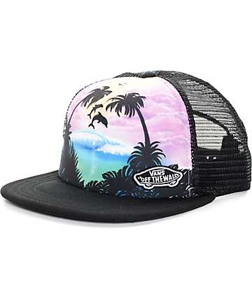 Vans Beach Girl Dolphin Black Trucker Hat