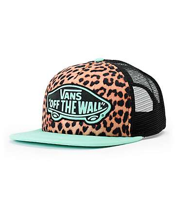 Vans Beach Girl Mint Leopard Trucker Hat