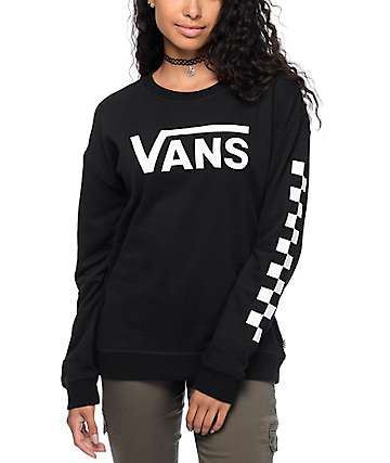 Vans Big Fun Checkerboard Black & White Crew Neck Sweatshirt