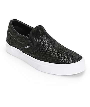 Vans Black Pebble Snake Slip-On Shoes (Womens)