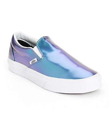 Vans Blue Patent Leather Slip-On Shoes (Womens)