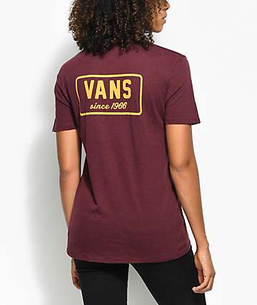 Vans Boom camiseta en color borgoño y mostaza