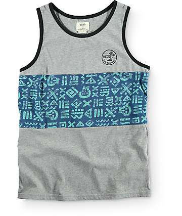 Vans Boys Afton Concrete & Heather Grey Tank Top