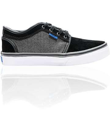 Vans Boys Chukka Low Black Suede & Herringbone Skate Shoes