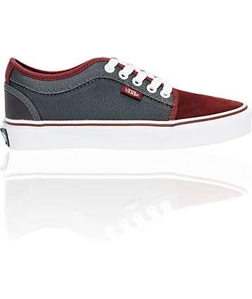 Vans Boys Chukka Low Burgundy & Charcoal Shoes
