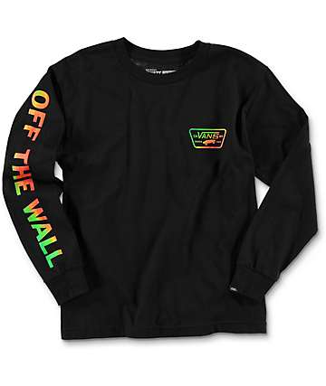 Vans Boys Full Patch Black Long Sleeve T-Shirt
