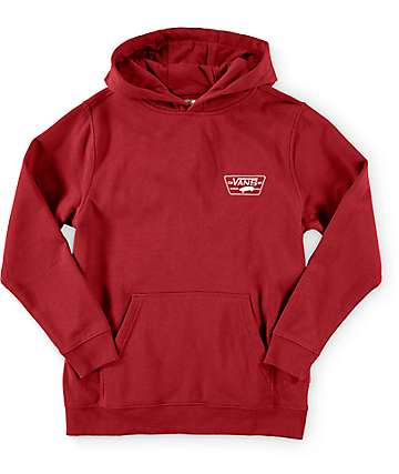 Vans Boys Full Patched Burgundy Pullover Hoodie