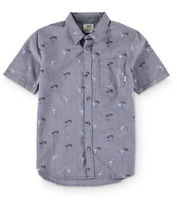 Vans Boys Houser Blue Print Button Up Shirt