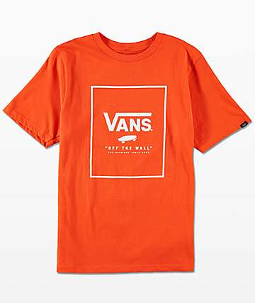 Vans Boys Print Box Tangerine & White T-Shirt