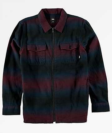 Vans Brewster Port Royale camisa de franela azul con cremallera para niños