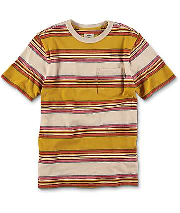 Vans Brunswick camiseta en colores crema y olivo para niños