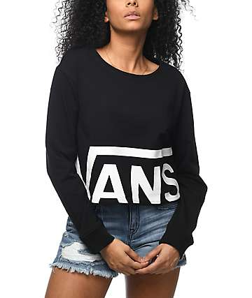 Vans Castaway Cropped Black Crewneck Sweatshirt
