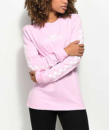 Vans Checker OTW Pink Long Sleeve T-Shirt