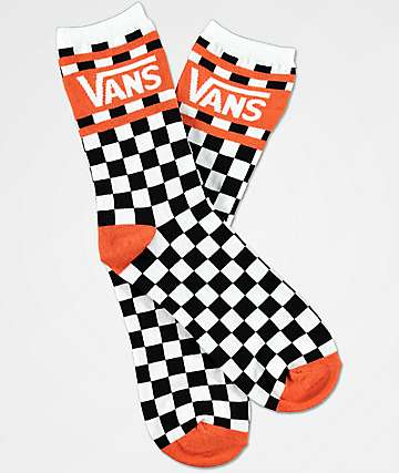 Vans Checker Orange & White Crew Socks