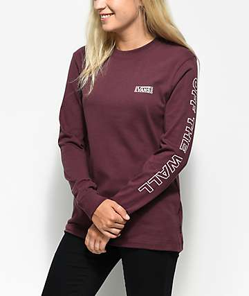 Vans Checkered Drop V Burgundy Long Sleeve T-Shirt