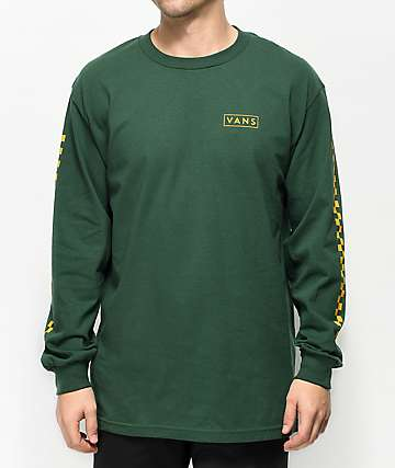 Vans Checkmate Green & Yellow Long Sleeve T-Shirt