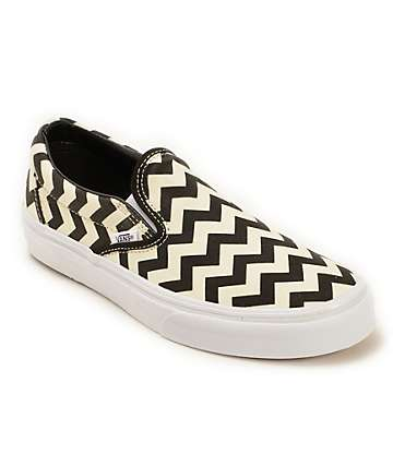Vans Chevron Print Slip On Shoes (Womens)