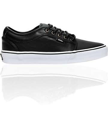 Vans Chukka Black Leather Skate Shoes (Mens)