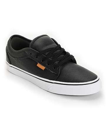 Vans Chukka Black Peforated Leather Skate Shoes (Mens)