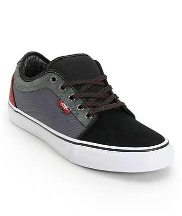 Vans Chukka Low Black, Dark Grey, & Burgundy Skate Shoes (Mens)