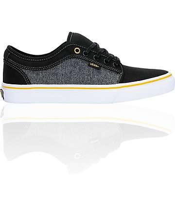 Vans Chukka Low Black, Grey, & Gold Skate Shoes (Mens)