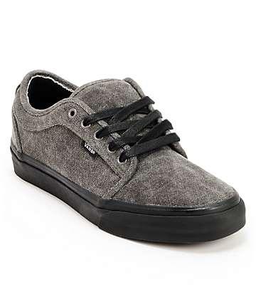 Vans Chukka Low Black & Black Washed Canvas Skate Shoes (Mens)
