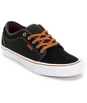 Vans Chukka Low Black & Flannel Canvas Skate Shoes (Mens)