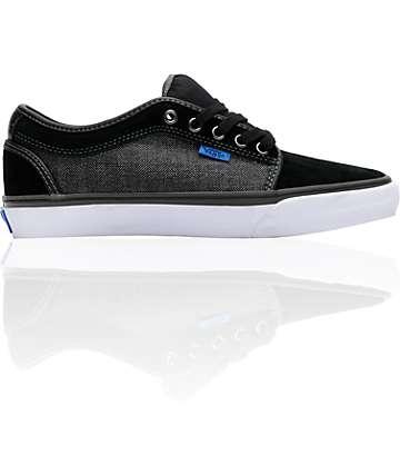Vans Chukka Low Black & Grey Herringbone Skate Shoes (Mens)