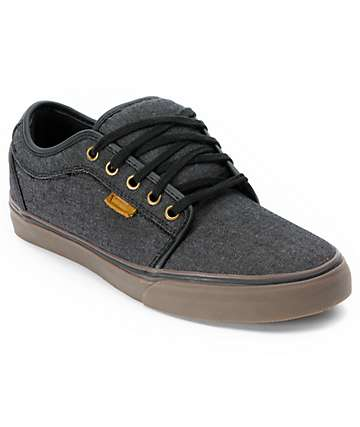 Vans Chukka Low Black Canvas & Gum Skate Shoes (Mens)