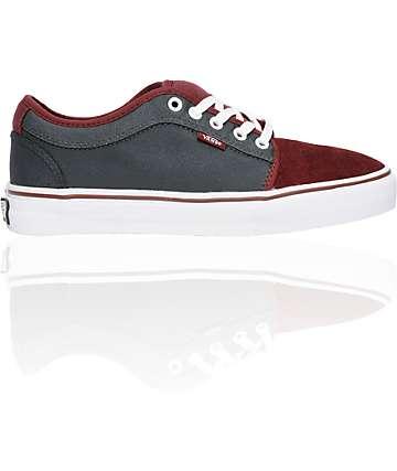 Vans Chukka Low Burgundy & Grey Skate Shoes (Mens)