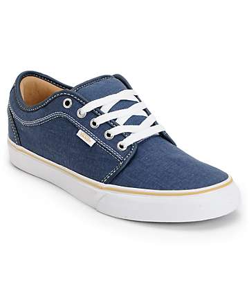 Vans Chukka Low Navy Washed Canvas Skate Shoes (Mens)