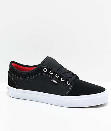 Vans Chukka Low Pro Black, White & Chili Pepper Skate Shoes