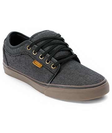 Vans Chukka Low zapatos de skate de lona negra y goma (hombre)