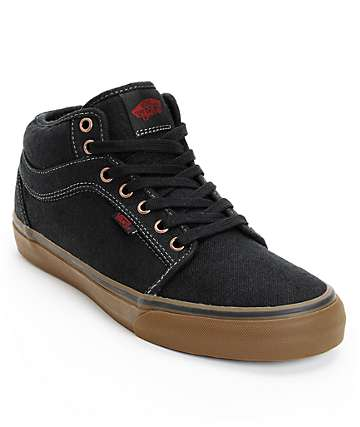 Vans Chukka Mid Black & Gum Canvas Skate Shoes (Mens)