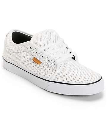 Vans Chukka White Peforated Leather Skate Shoes (Mens)