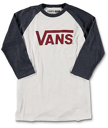 Vans Classic Boys White & Heather Navy Baseball T-Shirt