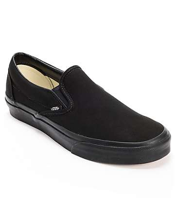 Vans Classic Mono Black Slip On Skate Shoes (Mens)