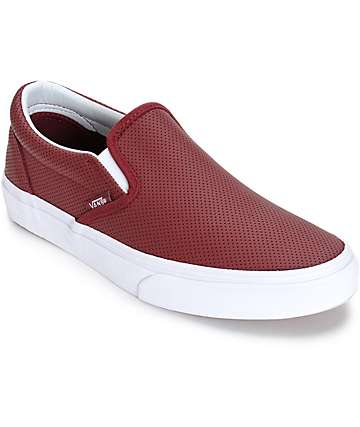 Vans Classic Port Perforated Leather Slip-On Shoes (Womens)