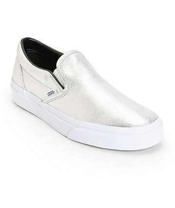 Vans Classic Silver Metallic Slip-On Shoes (Womens)