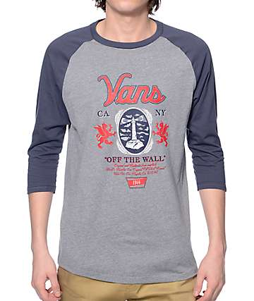 Vans Cold One Navy and Grey Baseball T-Shirt