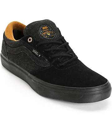 Vans Crockett Pro Black Denim Skate Shoes (Mens)