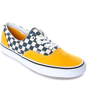 Vans Era 2-Tone Checkered zapatos de skate en blanco y amarillo