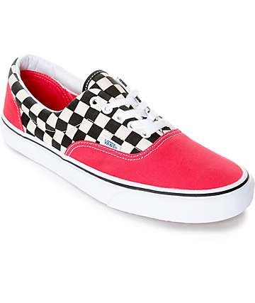 Vans Era 2-Tone Checkered zapatos de skate en blanco y rojo