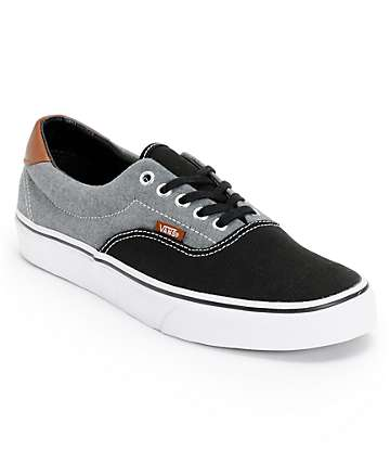 Vans Era 59 Black Canvas & Chambray Skate Shoes (Mens)