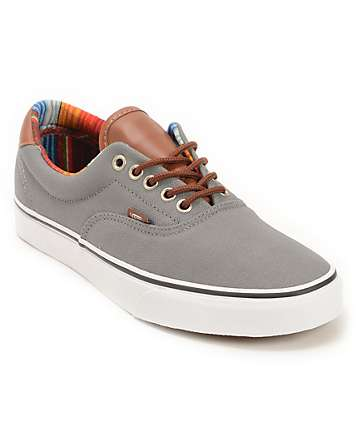 Vans Era 59 Steel Grey & Multi Stripe Skate Shoes (Mens)
