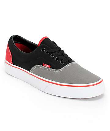 Vans Era Tri-Tone Black, Grey, & Red Skate Shoes (Mens)
