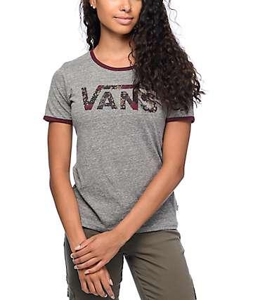 Vans Floral Fill Logo Grey Ringer T-Shirt