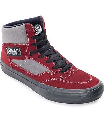 Vans Full Cab Pro 50th Anniversary Burgundy & Grey Skate Shoes
