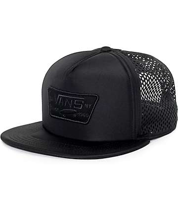 Vans Full Patch Black Laser Cut Trucker Hat